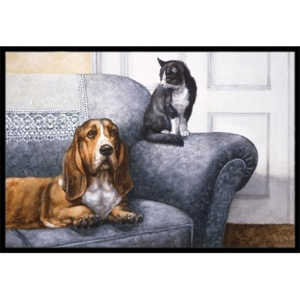 Carolines Treasures BDBA0182MAT Basset Hound & Cat on Couch Indoor or Outdoor Mat 18 x 27