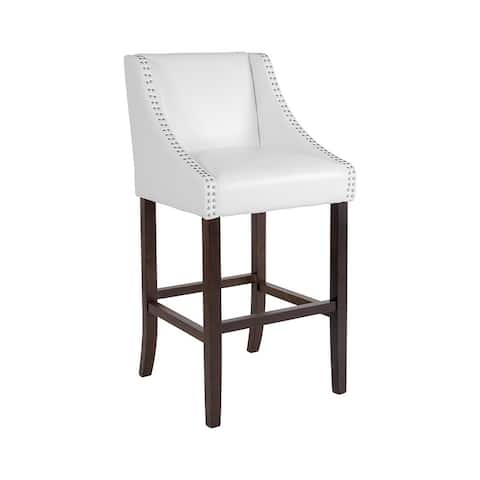 """Offex Carmel Series 30"""" High Transitional Walnut Barstool with Accent Nail Trim in White Leather"""
