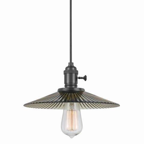 60 Watt Hanging Ceiling Lamp with Pleated Saucer Glass Shade, Black
