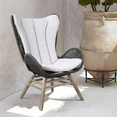 King Indoor Outdoor Lounge Chair in Eucalyptus Wood with Truffle Rope and Grey Cushion