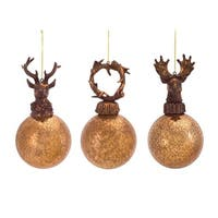 Pack of 12 Gold and Bronze Ball with Antler Glass Ball Ornaments