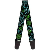 Monsters Inc. Sully & Mike Poses Grrrrr! Black Turquoise Green Guitar Strap