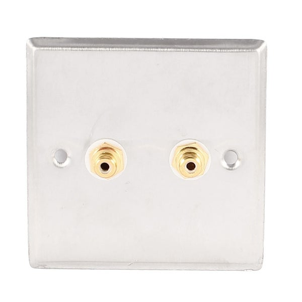 Unique Bargains Speaker Dual Gold Tone RCA Female Socket Jack Metal Wall Plate Panel 85x85mm