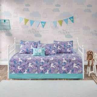 Link to Urban Habitat Kids Ella Purple 6 Piece Unicorn Cotton Reversible Daybed Set Similar Items in Daybed Covers & Sets