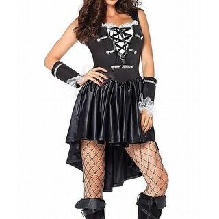 Leg Avenue Black Size XL Hi-Low Lace-Up Pirate Hat Dress Set
