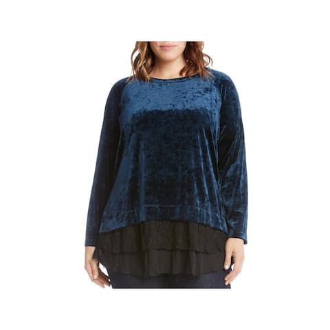 Karen Kane Womens Plus Pullover Top Velvet Lace Trim