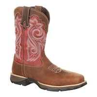 "Durango Boot Women's DRD0220 Lady Rebel 10"" Western Work Boot Briar Brown/Rusty Red Full Grain Leather/Synthetic"