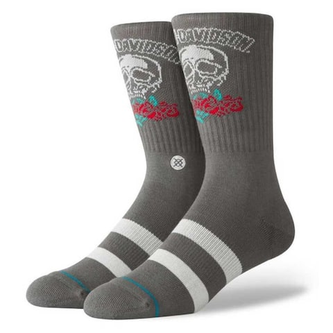 Harley-Davidson Stance Roses Are Red Crew Height Cotton Riding Socks - Gray