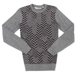 Ben Sherman NEW Gray Mens XL Herringbone Crewneck Wool Blends Sweater