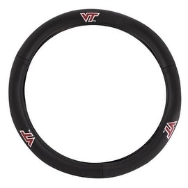 Pilot Automotive Black Leather Virginia Tech. Hokies Car Auto Steering Wheel Cover