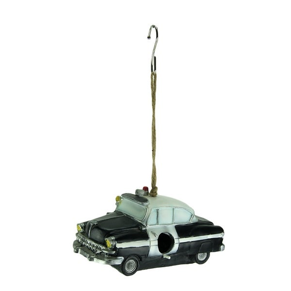 Black Vintage Police Car Hanging Birdhouse for Small Birds - 4.5 X 9.75 X 5 inches