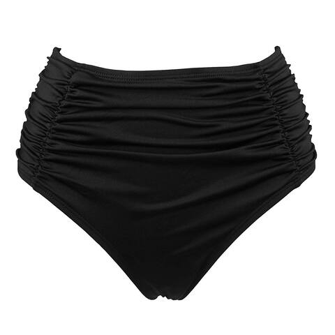 COCOSHIP Black Womens Size Large L Hi-Waist Bikini Bottom Swimwear