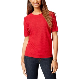 Alfred Dunner Womens Petites Pullover Sweater Chevron Short Sleeves - ps