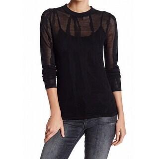 DKNY NEW Black Womens Size Large L Mix-Stitch Mesh Pullover Sweater