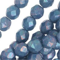 Czech Fire Polished Glass, Faceted Round Beads 6mm, 25 Pieces, Blue Turquoise Nebula