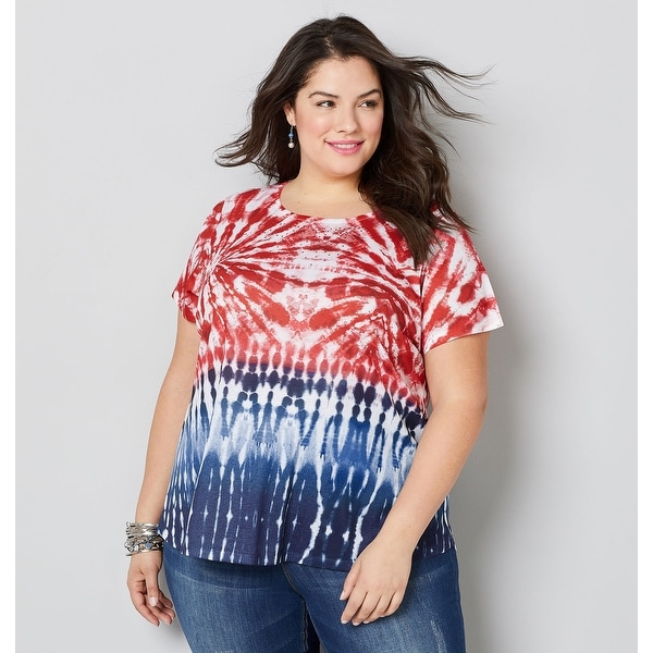 7c47763a008d Shop AVENUE Women s Americana Tie Dye Tee - Red Print - Free Shipping On  Orders Over  45 - Overstock - 28054644