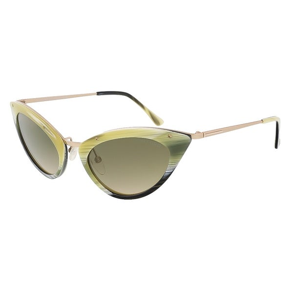 Tom Ford FT0349/S 64J Grace Olive Horn Cateye Sunglasses - 52-20-135