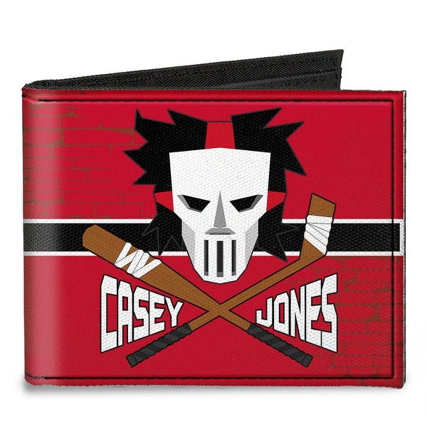 Casey Jones Baseball & Hockey Stick Bricks Stripe Reds White Black Canvas Canvas Bi-Fold Wallet One Size - One Size Fits most
