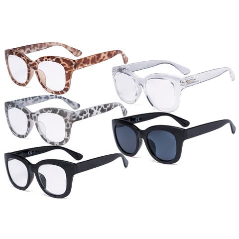 Eyekepper 5 Pack Oversized Eyewear Reading Glasses Retro Readers