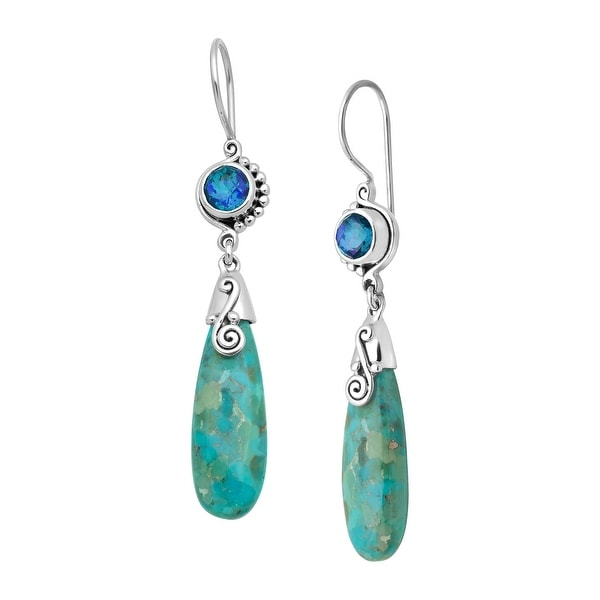 Sajen Natural Turquoise & Pariba Quartz Drop Earrings in Sterling Silver - Blue