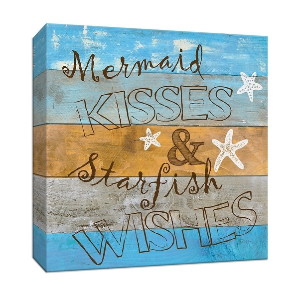 """PTM Images 9-147468 PTM Canvas Collection 12"""" x 12"""" - """"Woodgrain Mermaid Kisses"""" Giclee Sayings & Quotes Art Print on Canvas"""