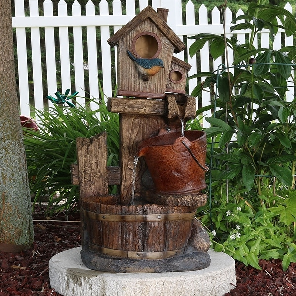 Sunnydaze Bluebird House & Buckets Outdoor Garden Water Fountain 26 Inch Tall
