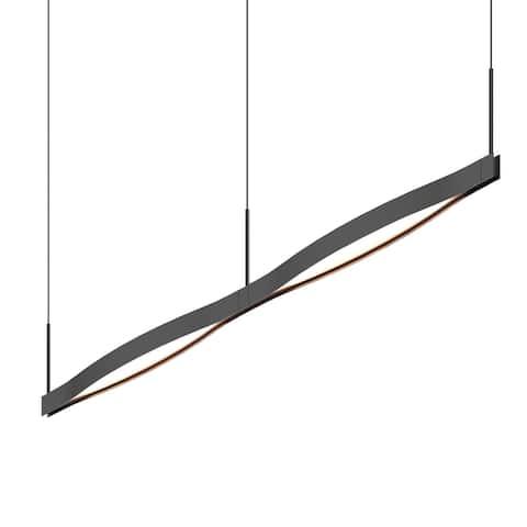 Ola Double Satin Black Linear LED Pendant