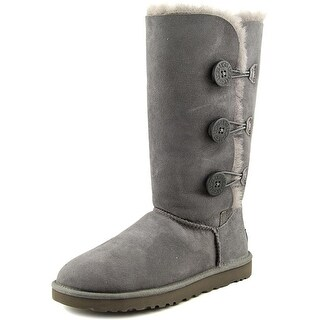 Ugg Australia Bailey Button Triplet Women Round Toe Suede Gray Winter Boot