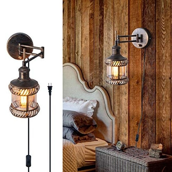 Adjustable swing arm wall sconce rustic industrial wall light fixture with plug in and on off switch