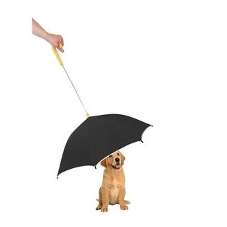 Pour-Protection Umbrella With Reflective Lining And Leash Holder, Black With Yellow handle