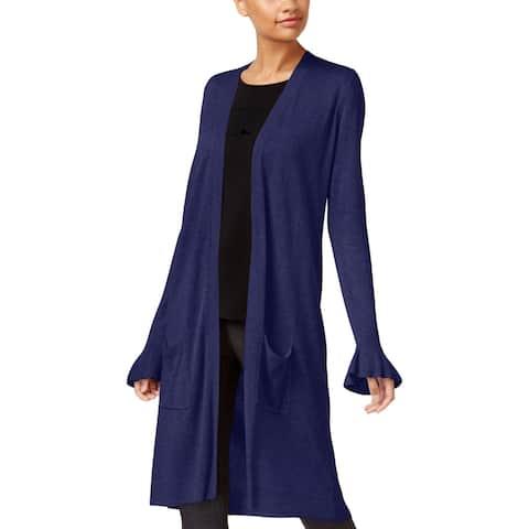 Joseph A Womens Cardigan Sweater Ruffle Sleeve Open Front