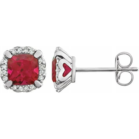 14K White Gold Created Ruby and 1/10 CTW Diamond Earrings for Women