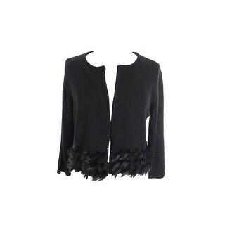 Alfani Deep Black Faux-Fur Cropped Cardigan Sweater XXL