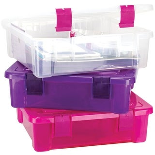 "Creative Options File Tub-17""X15""X5"" Clear W/Magenta - Pink"