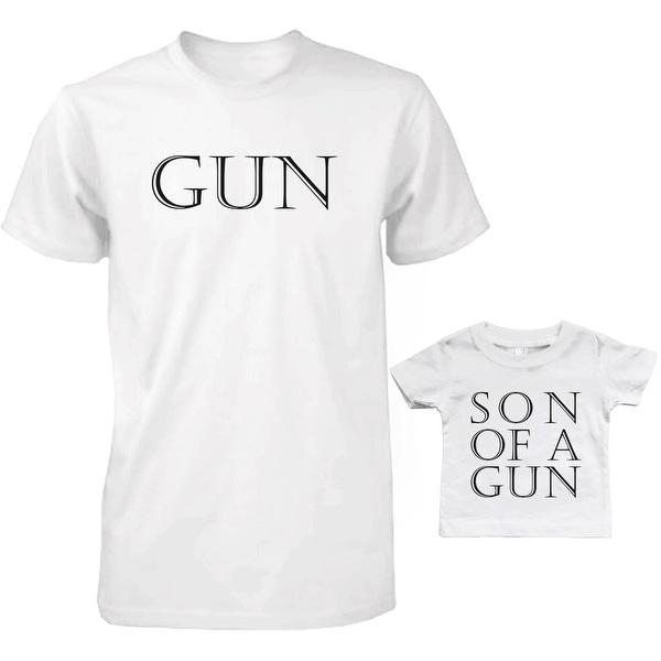 Gun Dad and Baby Matching T-Shirts