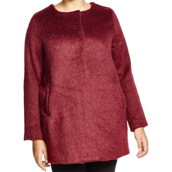 BB Dakota Burgundy Womens Plus Cassady Button Down Jacket