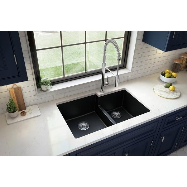"Karran Undermount Large/Small Bowl Quartz Kitchen Sink - 32"" x 21.25"" x 9"" - 32"" x 21.25"" x 9"". Opens flyout."