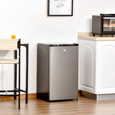 HOMCOM Compact Refrigerator 3.3 Cu Ft Mini Fridge with Adjustable Temperature Removable Glass Shelves Freezer Reversible Door