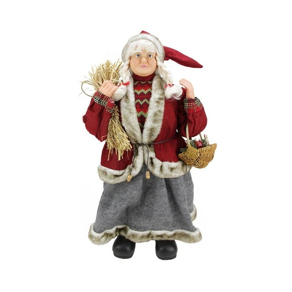 """23.5"""" Old World Standing Mrs. Claus Christmas Figure with Basket and Hay - RED"""