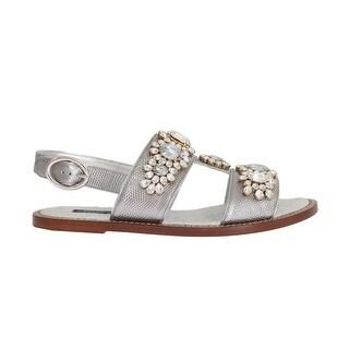Dolce & Gabbana Silver Crystal Iguana Leather Sandals