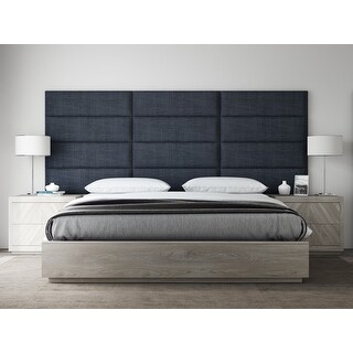 """VANT Upholstered Headboards - Accent Wall Panels - Packs Of 4 - Textured Cotton Weave Midnight Blue - 39"""" Wide x 11.5"""" Height."""