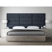 "VANT Upholstered Headboards - Accent Wall Panels - Packs Of 4 - Textured Cotton Weave Midnight Blue - 39"" Wide x 11.5"" Height."