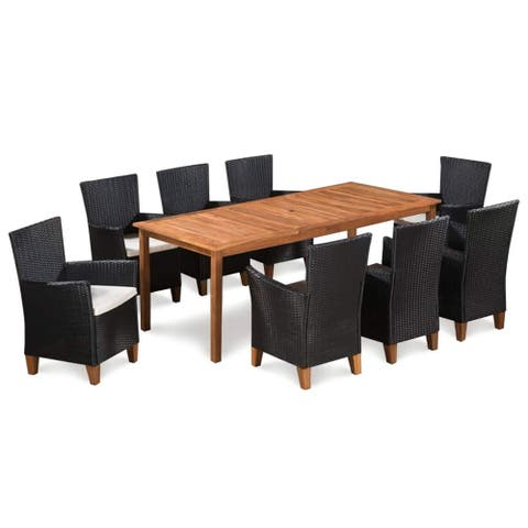 vidaXL Solid Wooden Outdoor Dining Set 9 Pieces Poly Rattan Patio Furniture