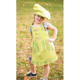 """3-Piece """"Official Mess Maker"""" Green Girl's Chef's Apron, Hat and Pot Holder Set"""