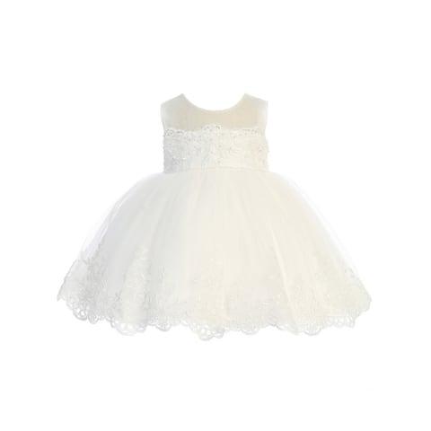 Ivory Lace Illusion Neck Flower Girl Dress Baby Girls