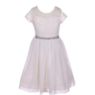 e5ffd742b536 Shop Little Girls Off-White Lace Stone Belt Chiffon Flower Girl ...