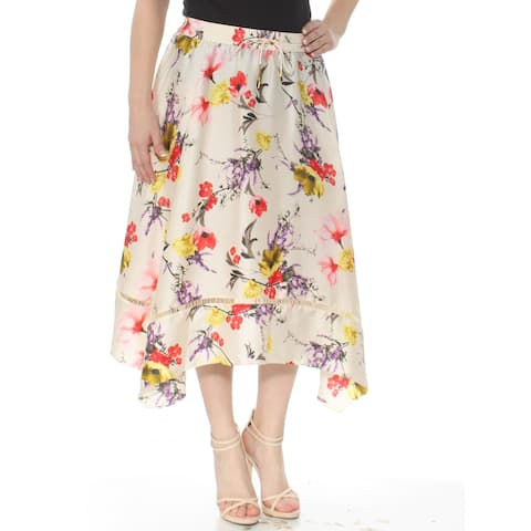 RALPH LAUREN Womens Ivory Floral Below The Knee Trapeze Skirt Size: S