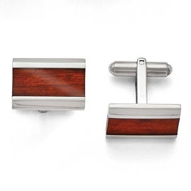 Chisel Stainless Steel Polished Red/Orange Wood Inlay Enameled Cuff Links