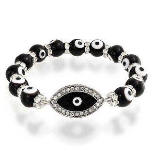 Clear Crystal Beads Black Evil Eye Stretch Bracelet Silver Plated