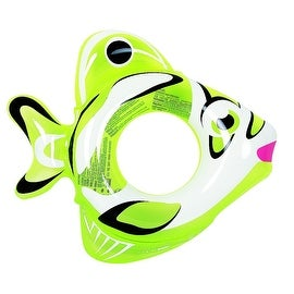 "34"" Green and White Inflatable Fish Children's Swimming Pool Swim Ring Inner Tube"